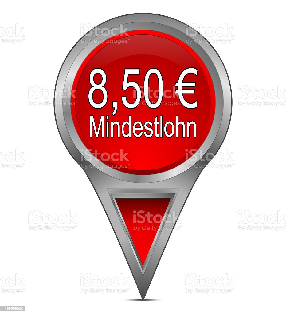 map pointer with 8,50 Euro minimum wage in german vector art illustration