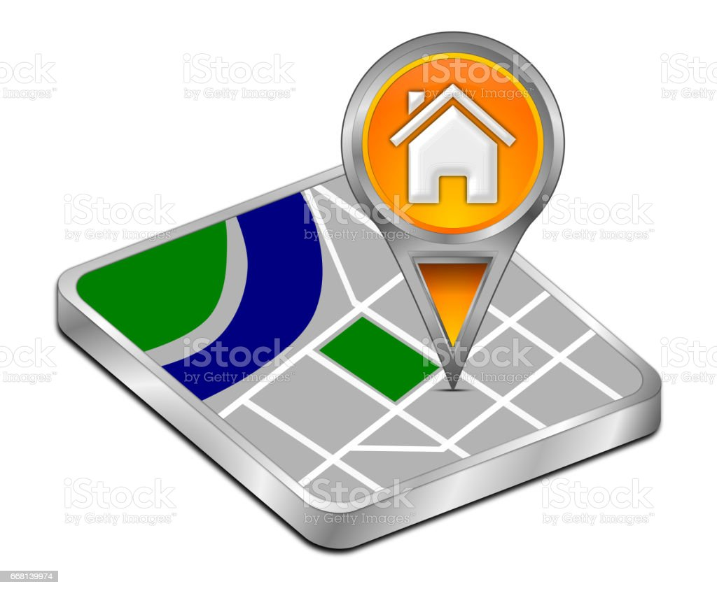 Map pointer with Home Button - 3D illustration stock photo