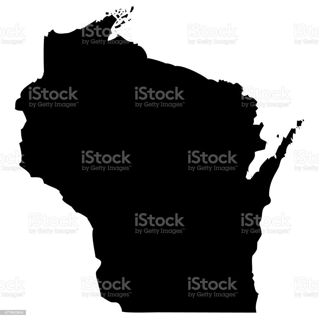 Map Wisconsin vector art illustration