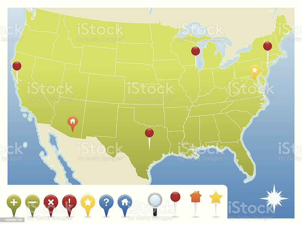 USA Map with Navigation Icons vector art illustration
