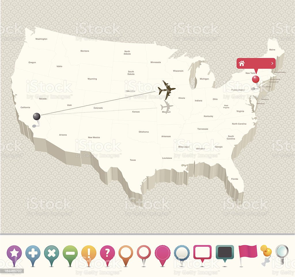 3D USA Map with Pins vector art illustration