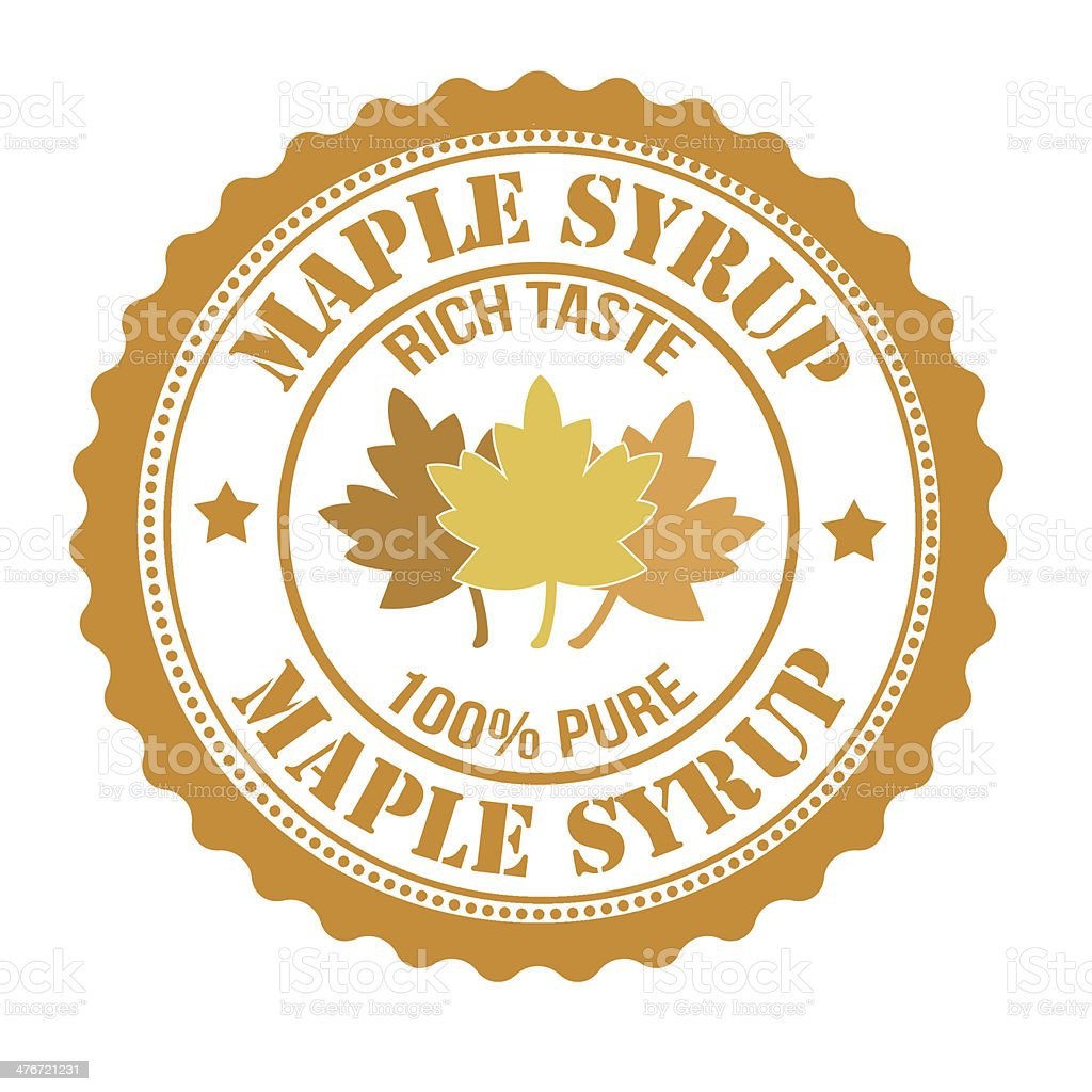 Maple syrup stamp vector art illustration