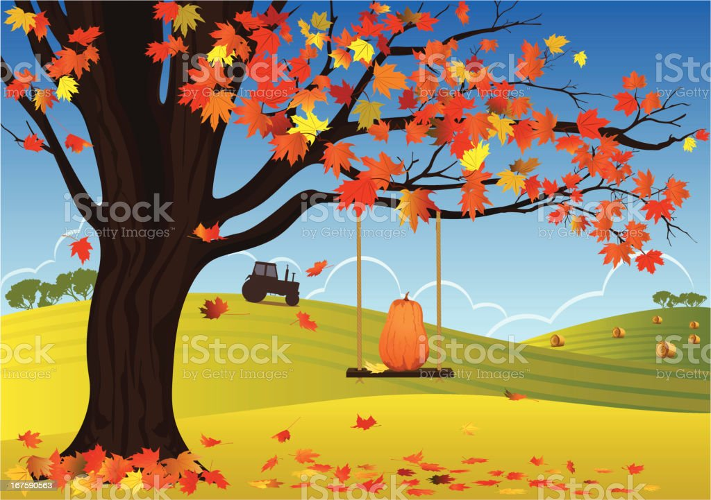 Maple Tree And Swing In Autumn Background vector art illustration