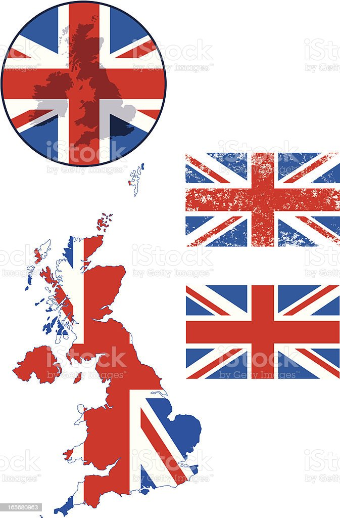 UK maps and flags royalty-free stock vector art