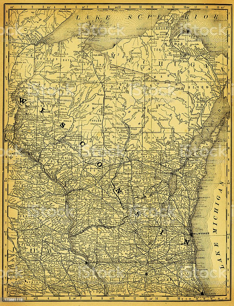 USA Maps and Illustrations I State of Wisconsin vector art illustration