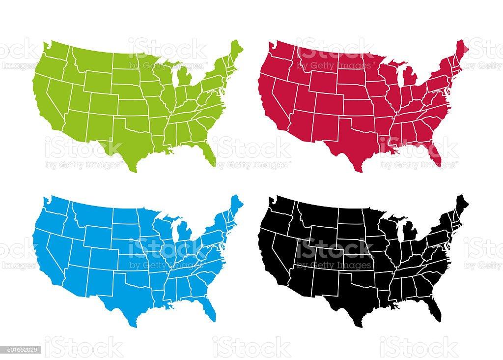 USA Maps Set vector art illustration