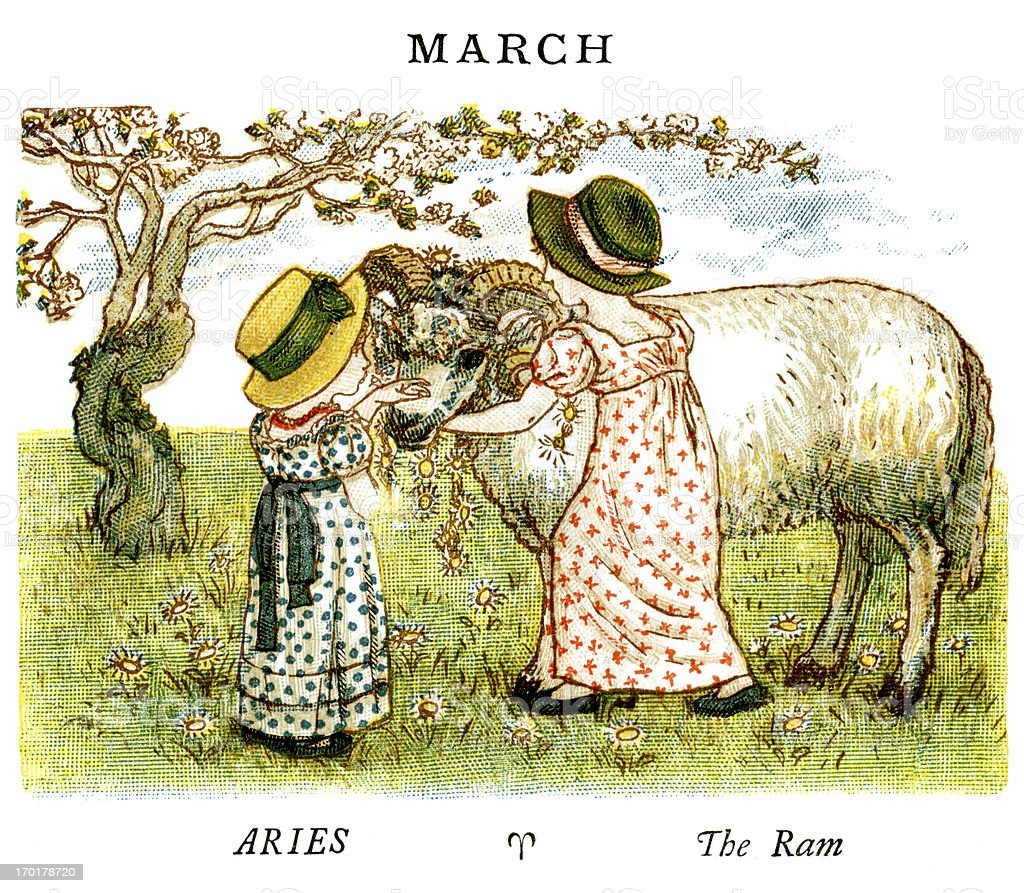 March - Kate Greenaway, 1884 vector art illustration
