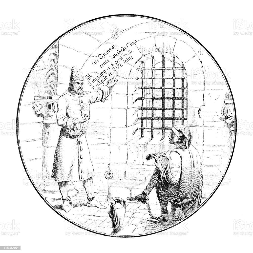 Marco Polo in Genoa Prison circa 1298 vector art illustration