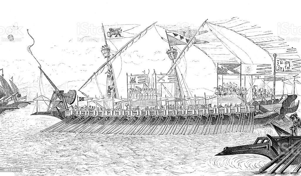 Marco Polo's Galley in Action, circa 13th Century vector art illustration