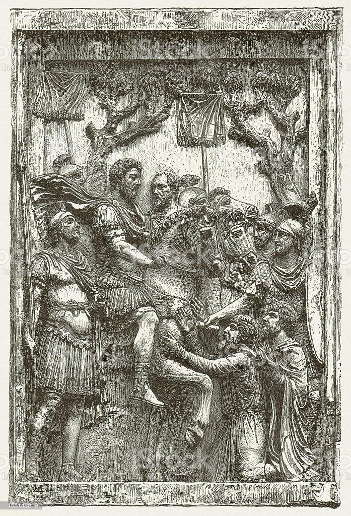 Marcus Aurelius (161-180 AD), from Arch of Marcus Aurelius, Rome royalty-free stock vector art