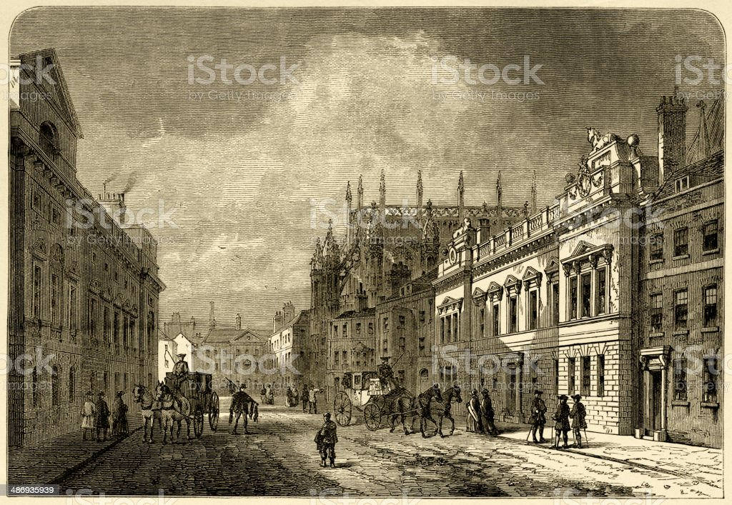 Margaret Street, Westminster, London, in 1820 vector art illustration