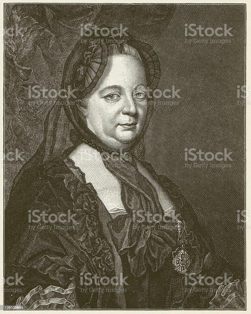 Maria Theresa (1717 - 1780) - by Joseph Ducreux vector art illustration