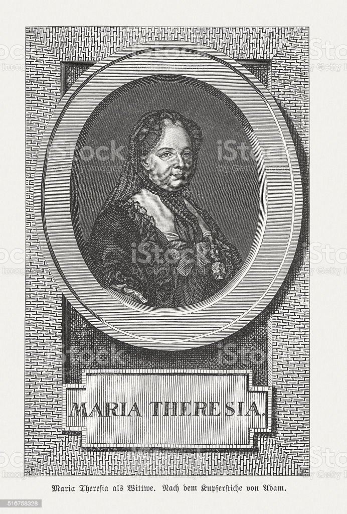 Maria Theresa of Austria (1717-1780), wood engraving, published in 1884 vector art illustration