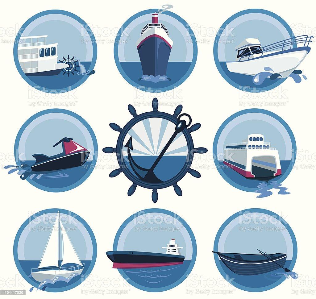 Marine transport collection vector art illustration