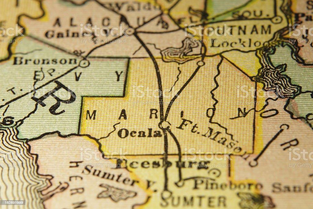 Marion | Florida County Maps (High Resolution Image) vector art illustration