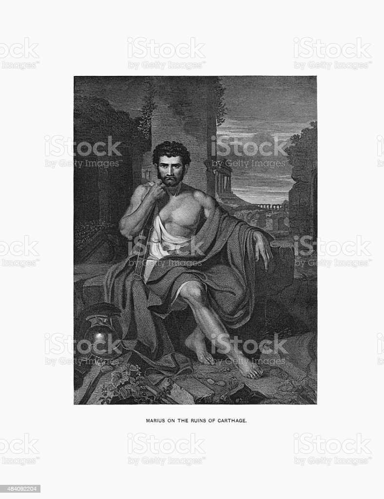 Marius on the Ruins of Carthage Engraving vector art illustration