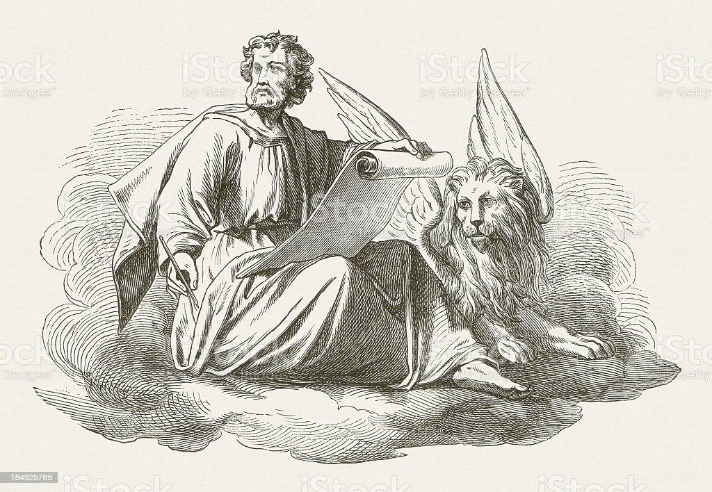 Mark the Evangelist, wood engraving, published in 1877 vector art illustration