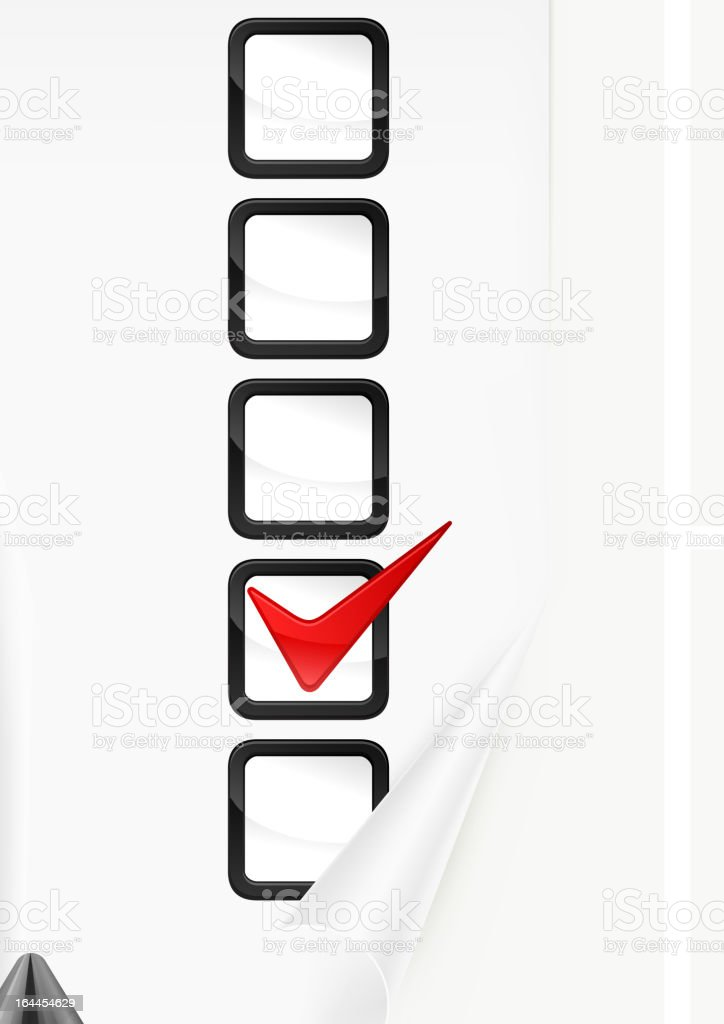 Markers with check marks on paper royalty-free stock vector art