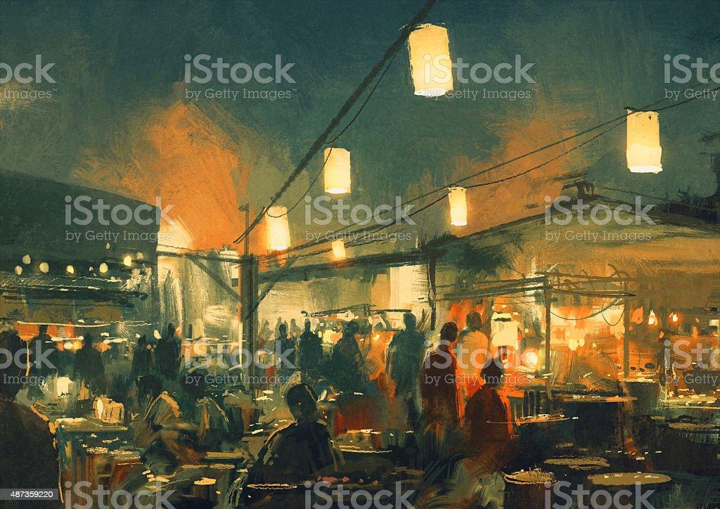 market at night,illusttation vector art illustration