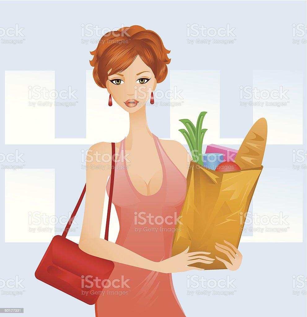 Market Shopping vector art illustration
