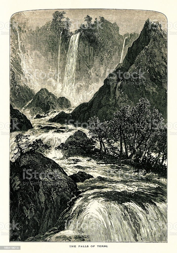 Marmore's Falls, Italy I Antique European Illustrations royalty-free stock vector art