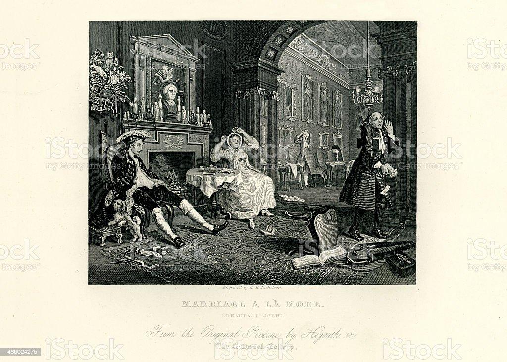 Marriage a La Mode royalty-free stock vector art