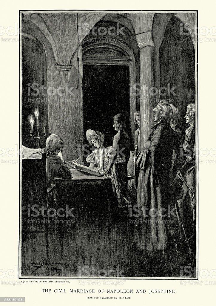 Marriage of Napoleon and Josephine vector art illustration