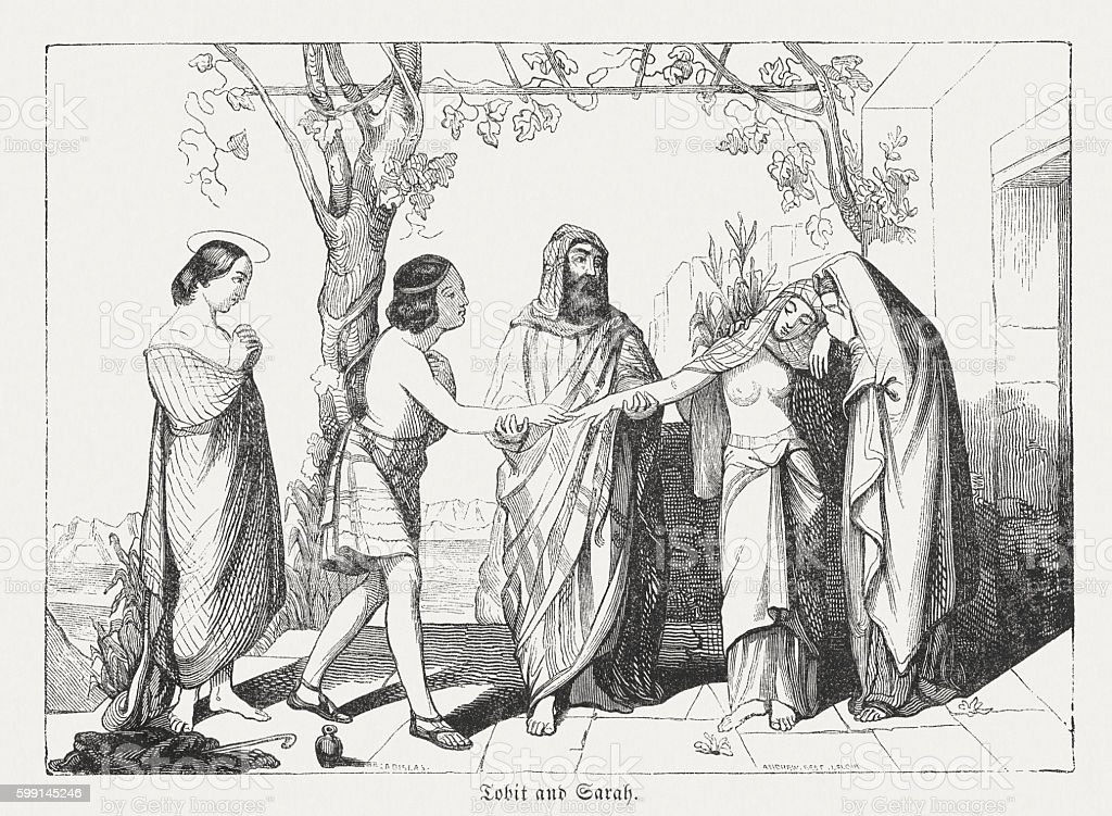 Marriage of Tobit and Sarah, wood engarving, published in 1855 vector art illustration