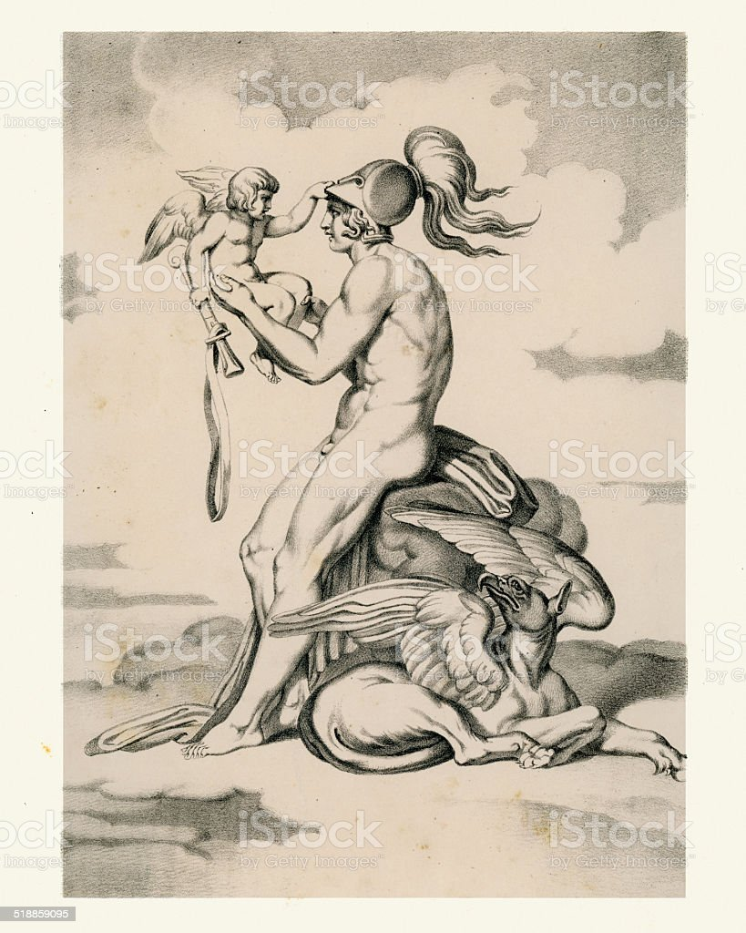 Mars and Cupid vector art illustration