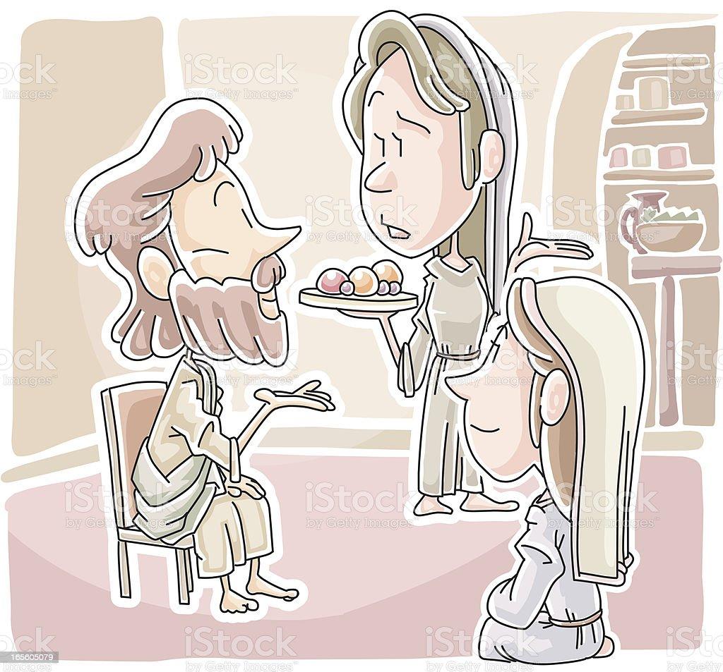 Martha and Mary vector art illustration