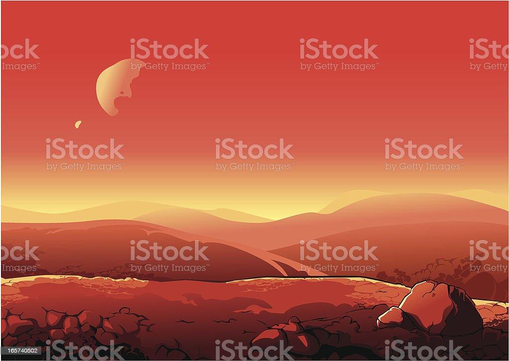 Martian landscape vector art illustration