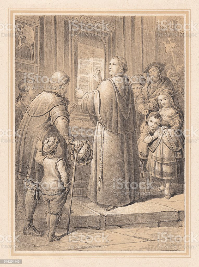Martin Luther and his 95 Theses, lithograph, published in 1865 vector art illustration