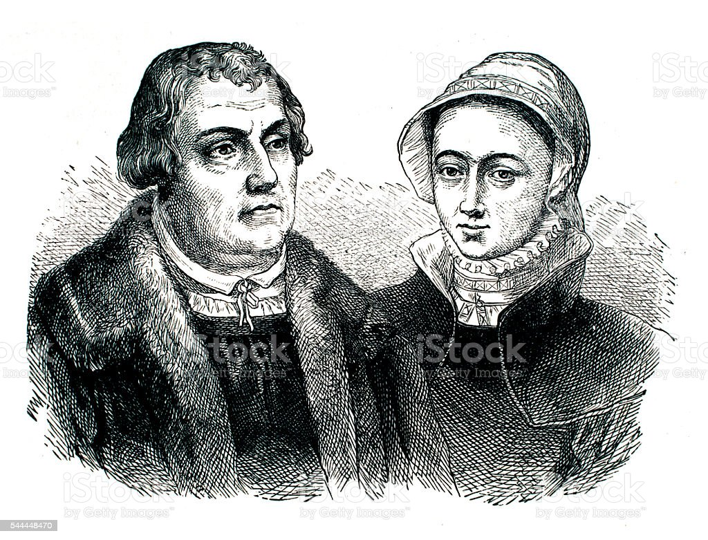Martin Luther and his wife stock photo