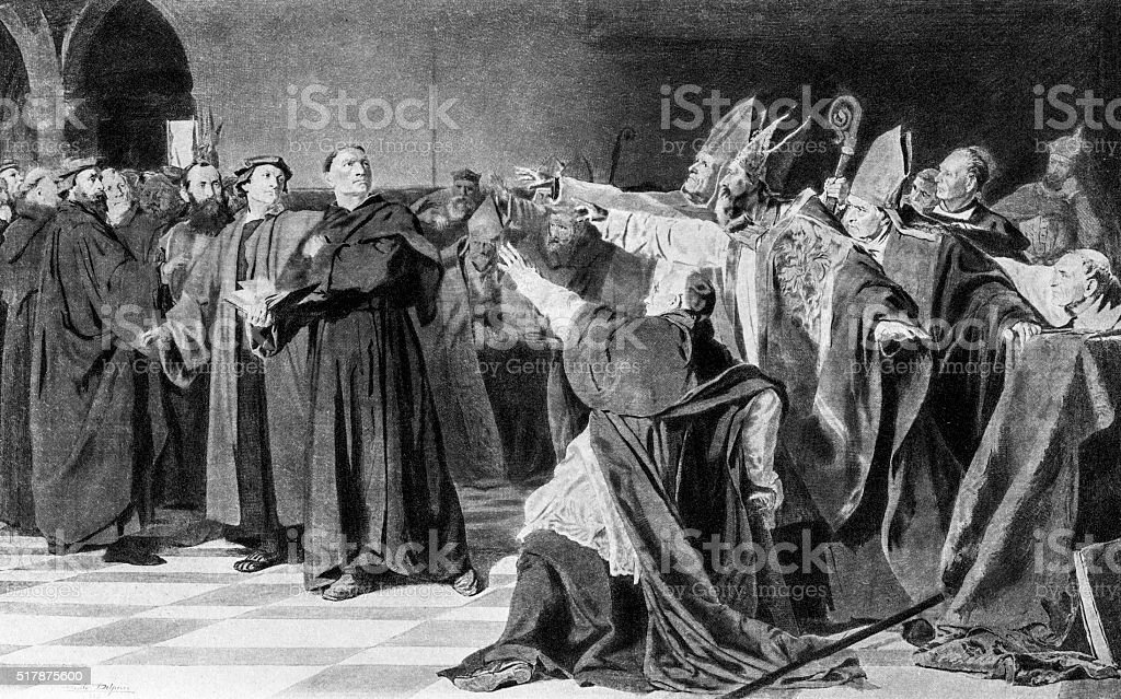 Martin Luther At The Diet Of Worms In 1521 vector art illustration