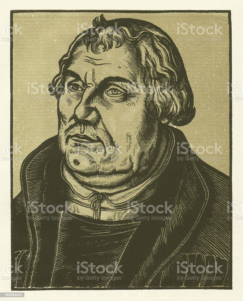 Martin Luther, contemporary woodcut by Cranach royalty-free stock vector art