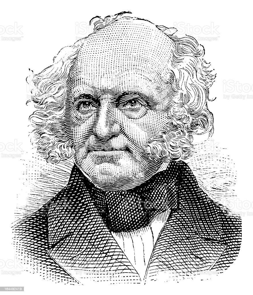Martin Van Buren - Antique Engraved Portrait royalty-free stock vector art