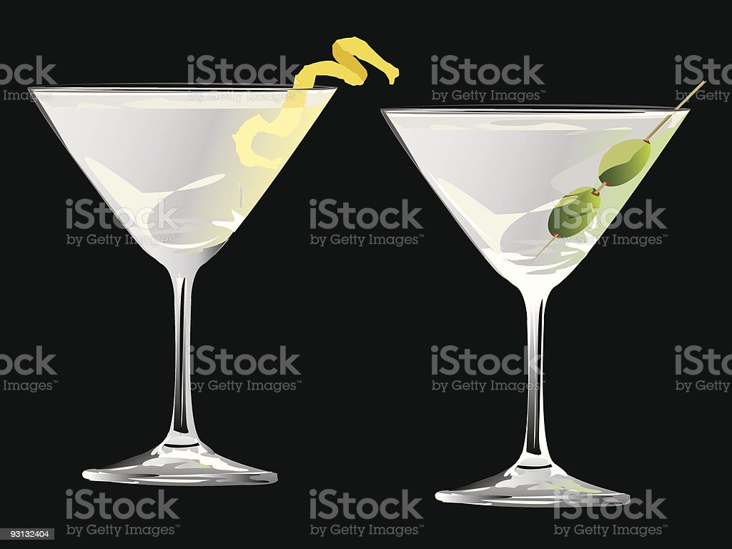Martini Glasses with Olive and Lemon Peel royalty-free stock vector art