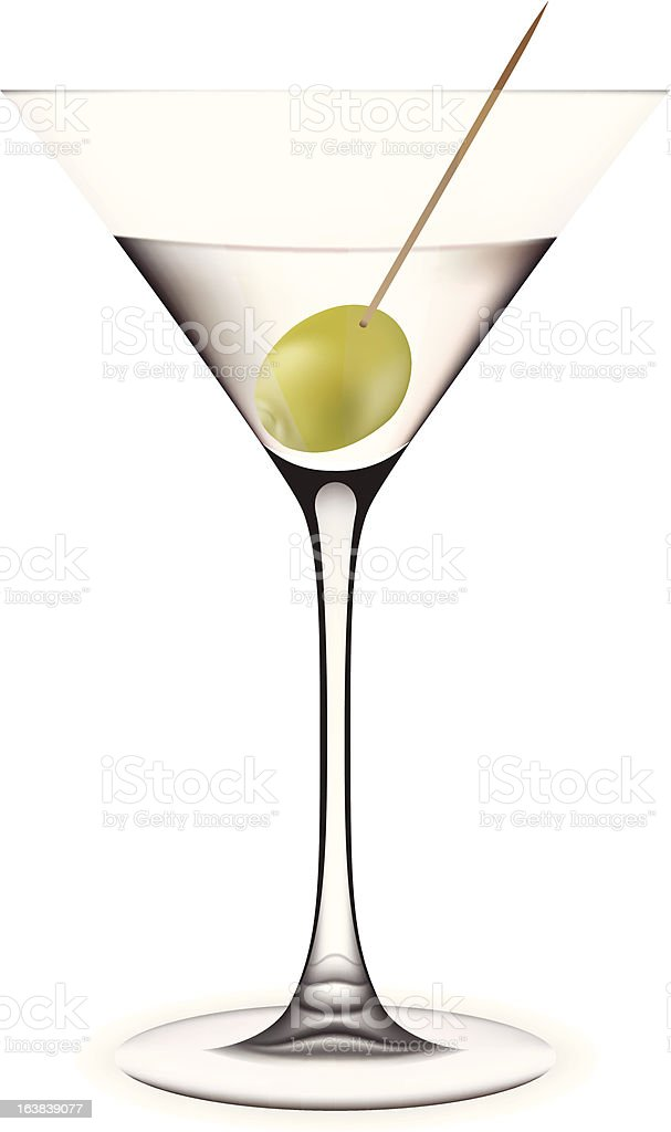 Martini with olive. royalty-free stock vector art