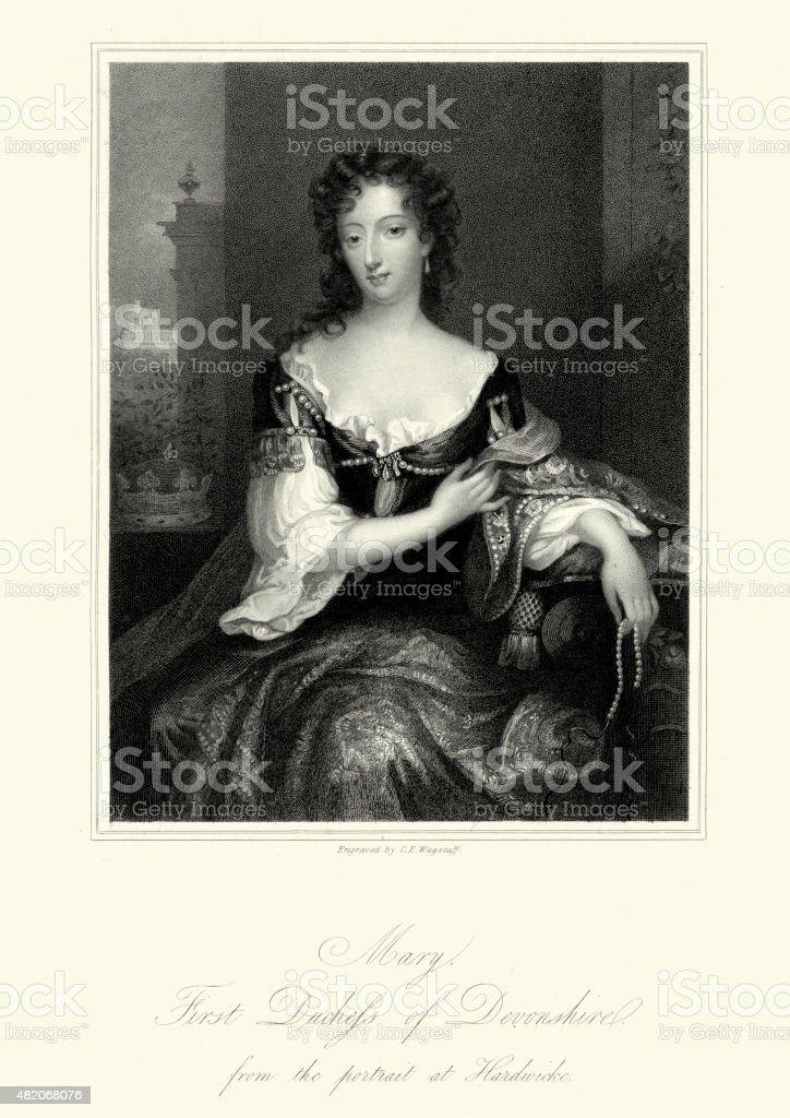 Mary Cavendish, Duchess of Devonshire vector art illustration