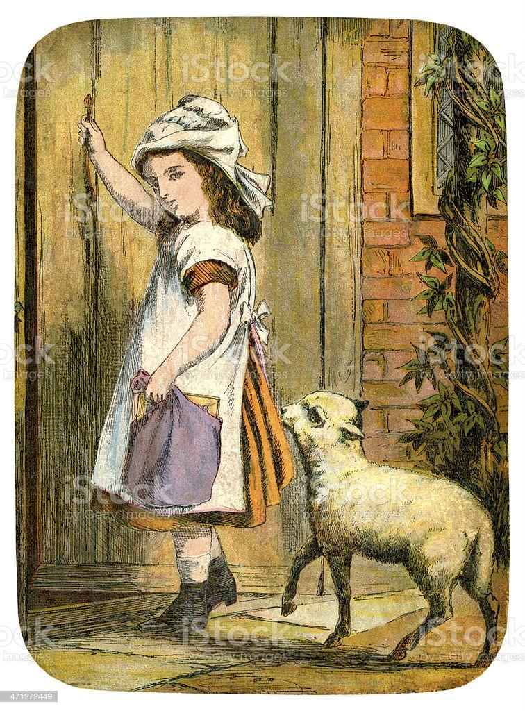 Mary had a little lamb vector art illustration