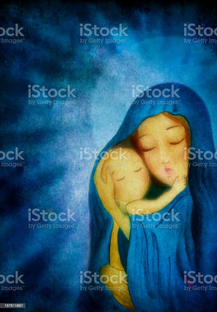 Mary holding the Child Jesus before dark blue background royalty-free stock vector art