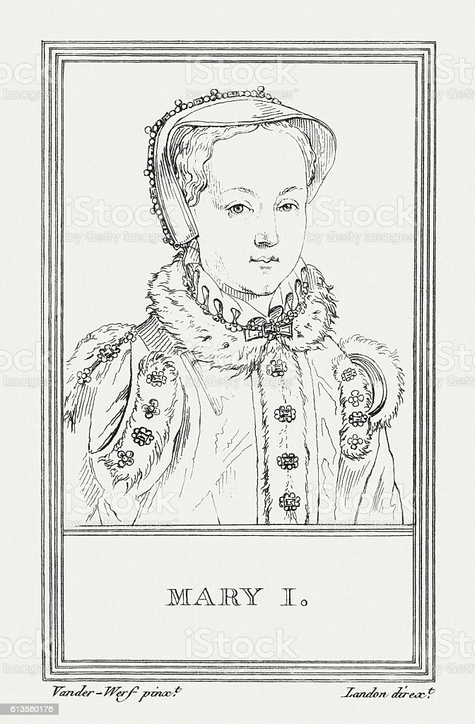 Mary I of England (1516-1558), copper engraving, published in 1805 vector art illustration