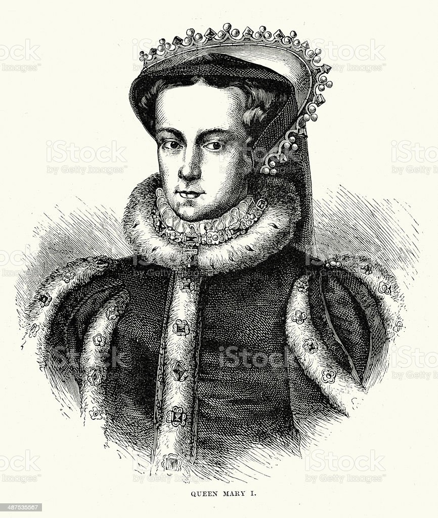 Mary I of England vector art illustration