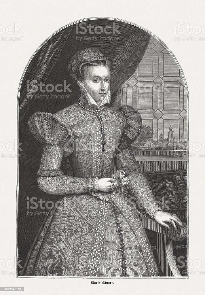 Mary I of Scotland, published in 1871 vector art illustration