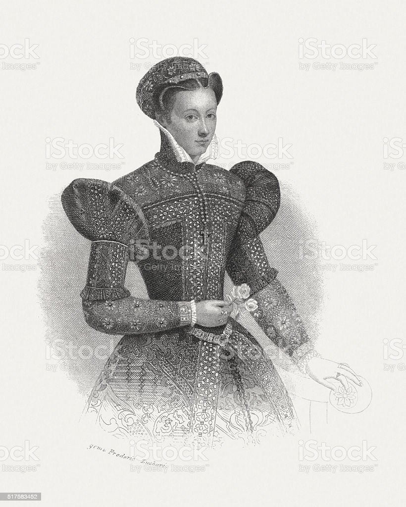 Mary I of Scotland, steel engraving, published in 1868 vector art illustration