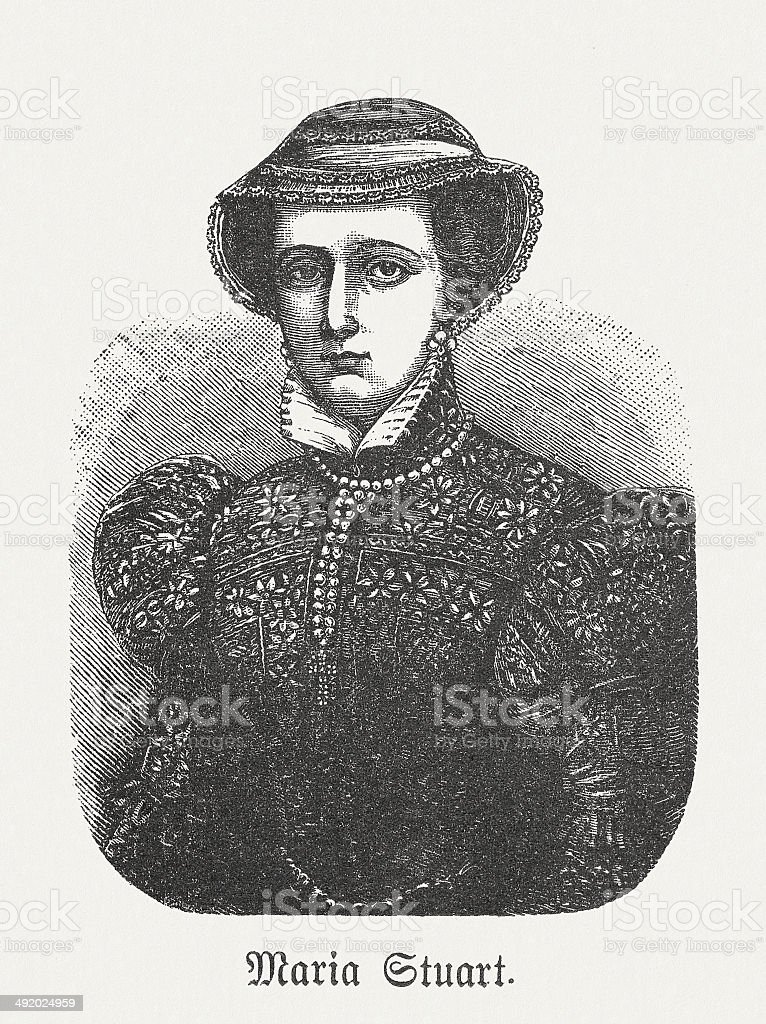 Mary I of Scotland (1542-1587), wood engraving, published in 1881 vector art illustration