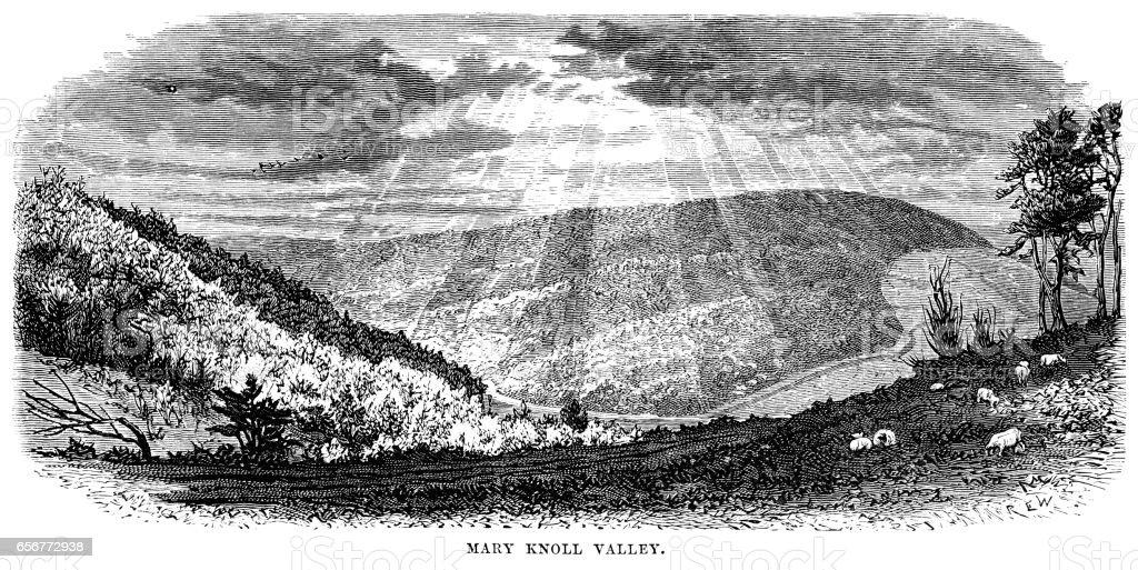 Mary Knoll Valley, Shropshire (Victorian engraving) vector art illustration