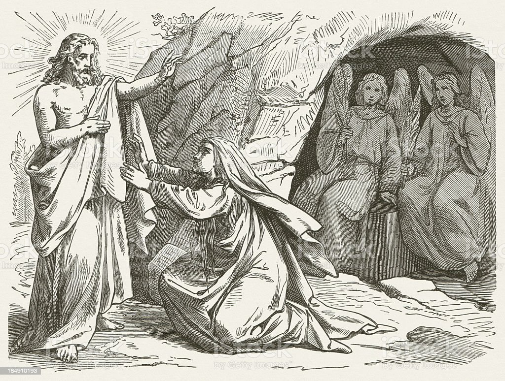Mary Magdalene and the Risen Jesus (John 20), published 1877 royalty-free stock vector art