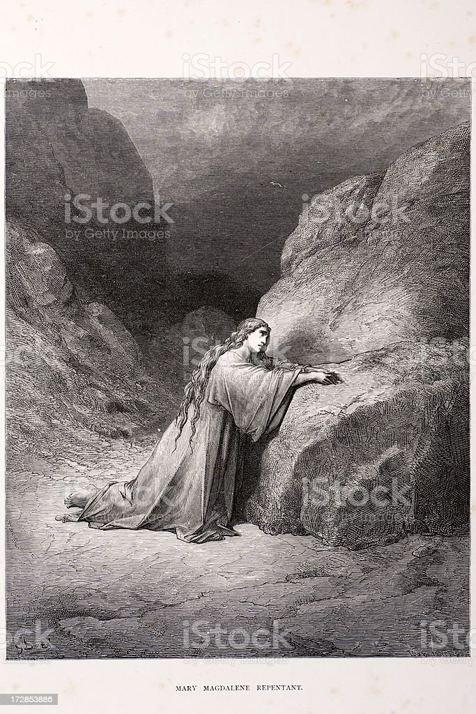 Mary Magdalene repentant vector art illustration