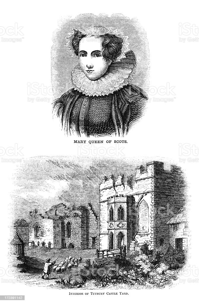 Mary, Queen of Scots and Tutbury Castle (Victorian woodcut) vector art illustration